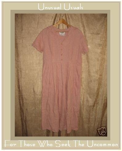 FLAX Pink Textured Linen Dress Jeanne Engelhart SMALL S