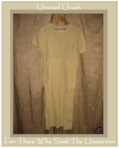 FLAX by Jeanne Engelhart Yellow LINEN Dress PETITE P