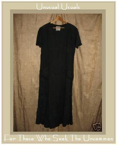 FLAX by Jeanne Engelhart Black LINEN Tied Waist Dress SMALL S