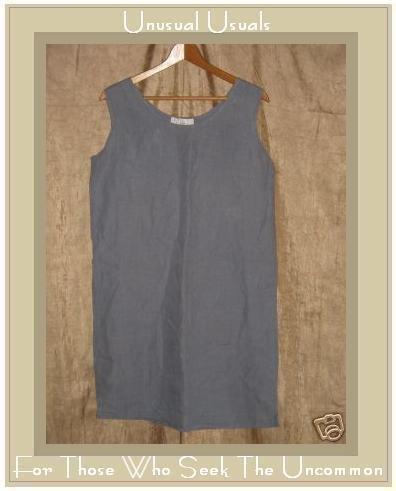 J. Jill Long Blue Gray LINEN Pullover Sheath Dress Small S