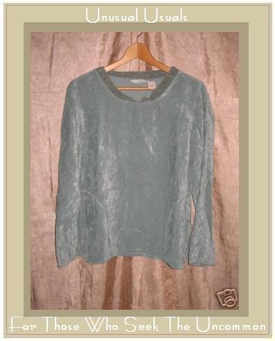 J. Jill Soft Blue Green Velour Pullover shirt top Small S