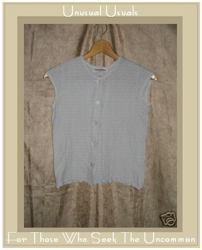 SOLITAIRE Pale Gray Textured Knit Button Shirt Top Small S