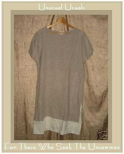 TIMBUKTU Station Natural & White Linen Shapely Layered Pullover Dress Medium M
