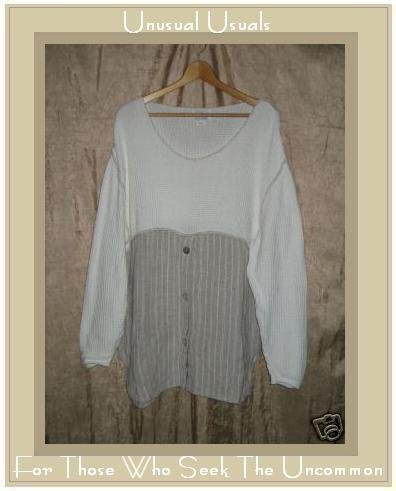 CLOUDBURST by helehe White Thermal Top Skirted COTTON Tunic Shirt Large L