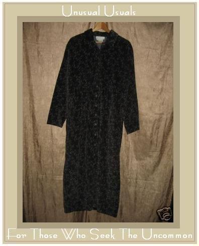 J. Jill Long Wispy Gray Floral Corduroy Dress Small S