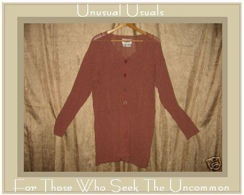 FLAX Berry Button Cardigan Tunic Sweater Jeanne Engelhart S M