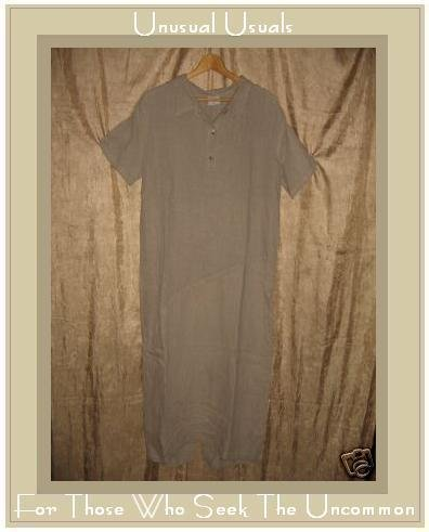CLICK Diagonal Seam LINEN Pullover Shirt Dress Medium M