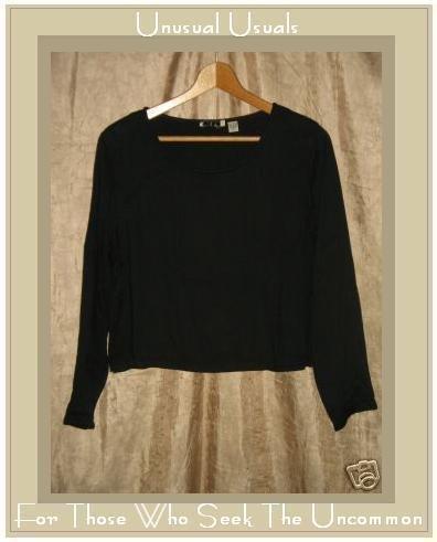PUTUMAYO Soft Black Rayon Boxy Pullover Shirt Top SMALL S