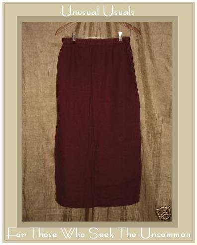 EILEEN FISHER Long Brick Red Linen Skirt MEDIUM M