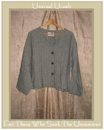 FLAX by Jeanne Engelhart Peplum Button Shirt Top Large L