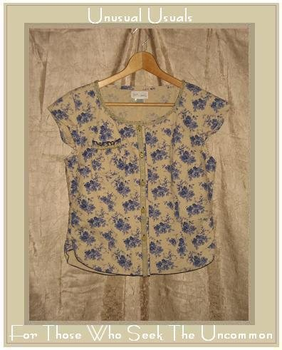 NEESH by D.A.R. Vintage Blue Floral Ribbon Trimmed Shirt Top Medium M