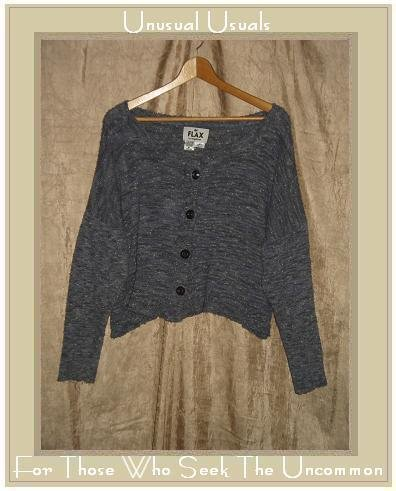 FLAX by Angelheart Jeanne Engelhart Blue Cropped Cardigan Sweater M L