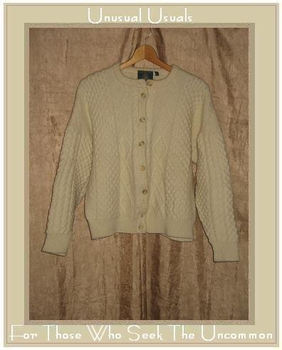 GAELTARRA Fisherman Style Cream Wool Aran Knit Cardigan Sweater X-Large XL