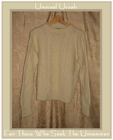 Kennedy of Ardara Cream Wool Aran Knit Fisherman's Sweater Small S
