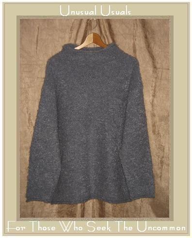 J. Jill Soft Nubby Blue Gray Turtleneck Tunic Sweater Large L