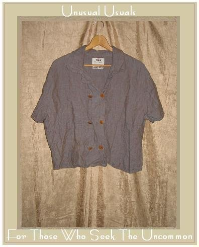 Flax by Jeanne Engelhart LINEN Blue Potato Gemini Shirt Top Large L