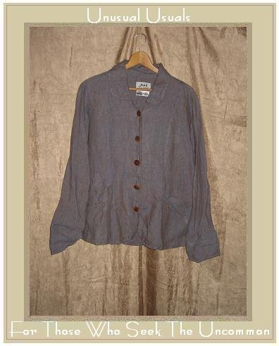 Flax by Jeanne Engelhart LINEN Blue Potato Short Sexy Switch Shapely Jacket Shirt Top Small S