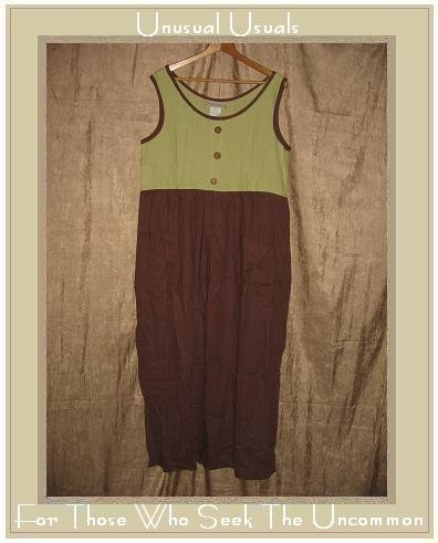 SWEET JESSIE Long Green & Brown LINEN Dress Large L