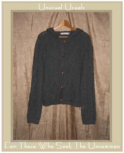 Cotton Emporium Gray Aran Fisherman Cardigan Sweater 2X