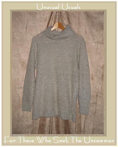 KAMAL Gray Nubby Knit Turtleneck Tunic Sweater Medium M
