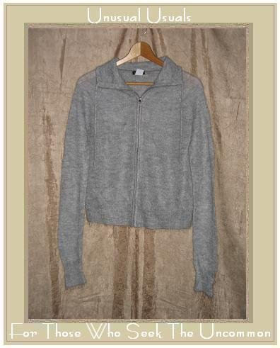 J. Crew Soft Gray Mohair Zipped Cardigan Sweater Large L