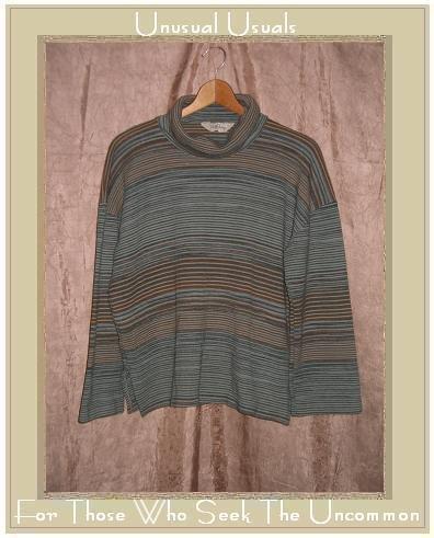 LADY DEVON Soft Striped Knit Turtleneck Tunic Top Shirt Large L