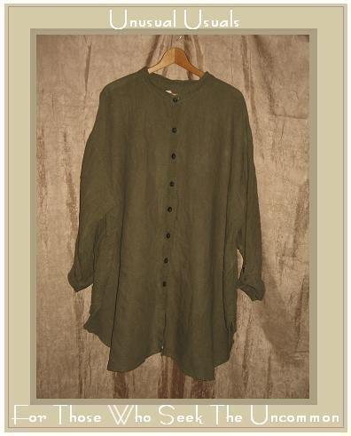 FLAX by Jeanne Engelhart Olive Linen Shirt Tunic Top Generous G