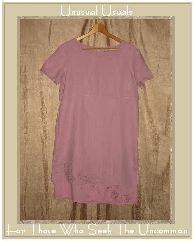 J. Jill Soft Purple Layered LINEN Embroidered Trim Pullover Dress Small S