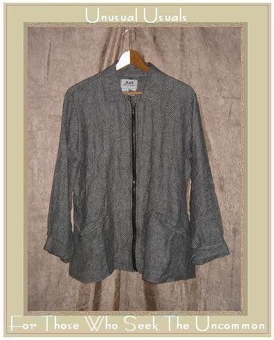FLAX by Jeanne Engelhart Shapely Linen Zipper Jacket SMALL S