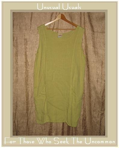 TOM TOM Spring Green LINEN Jumper Jump Dress Large L