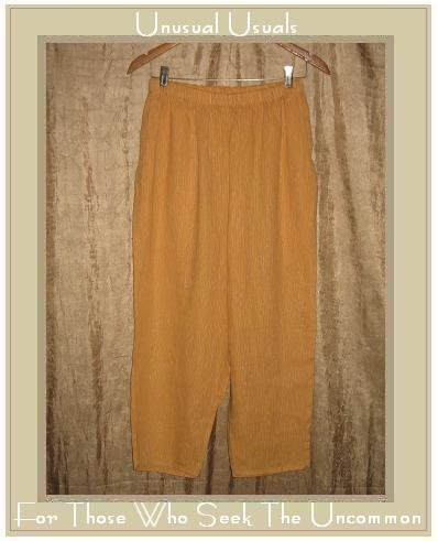 FLAX Orange Striped LINEN Pants Jeanne Engelhart Medium M