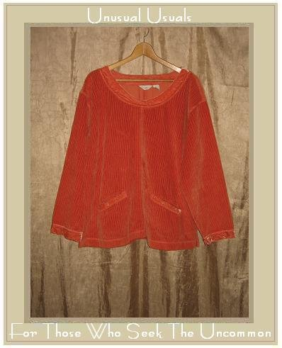 J. Jill Soft Orange Velvet Trim Corduroy Pullover shirt top X-Large XL