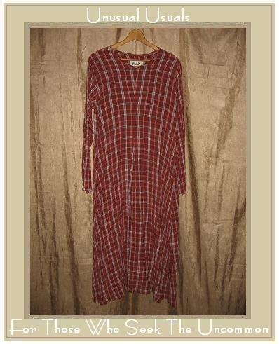 FLAX Long Plaid Shapely Pullover Dress Jeanne Engelhart Medium M