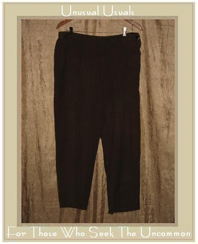 FLAX Maroon LINEN Cotton Straight Pants Jeanne Engelhart Large L