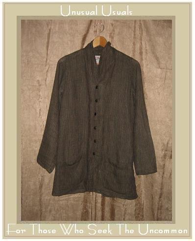 FLAX Jeanne Engelhart Bark Cloth LINEN Snappy Jacket Petite P