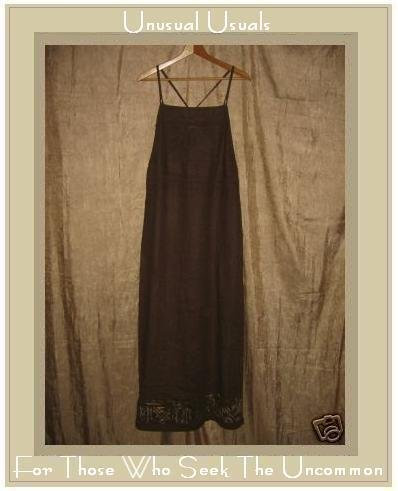 CL CAROLE LITTLE Long Brown LINEN Jumper Jump Dress Size 10
