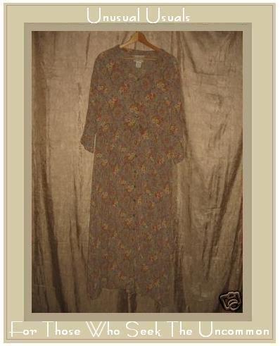 April Cornell Long Vintage Style Sage Floral Dress Large L