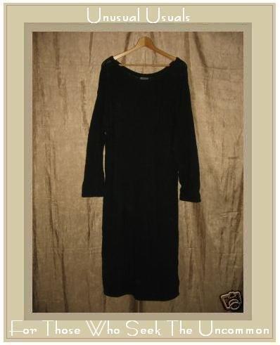 COLOR ME COTTON CMC Nubby Black Knit Pullover Tunic Dress Large L