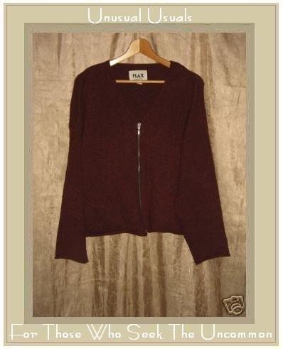 FLAX by Angelheart Jeanne Engelhart Berry WOOL Zipper Cardigan Sweater M L