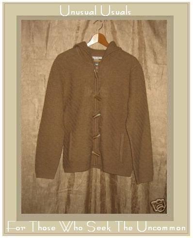 JILLIAN JONES Hooded Textured WOOL Zipper Cardigan Sweater Medium M