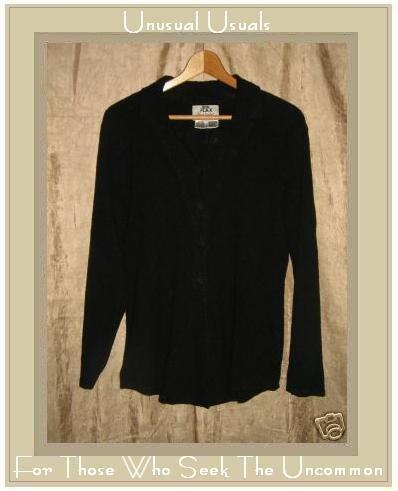 FLAX by Jeanne Engelhart Long Shapely Pocket Play Jacket Top Black Medium M