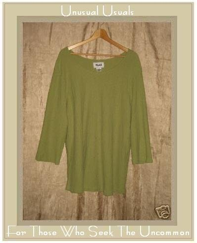 FLAX Leafy Green Textured Cotton  Tunic Top Shirt 2 Generous 2G