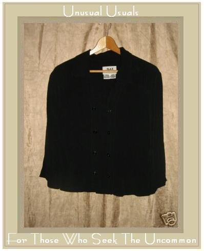 FLAX by Jeanne Engelhart Black Rayon Button Shirt Top Petite P