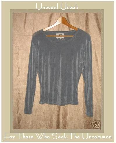 Jeanne Engelhart FLAX Slinky Gray Tunic Top Shirt Medium M