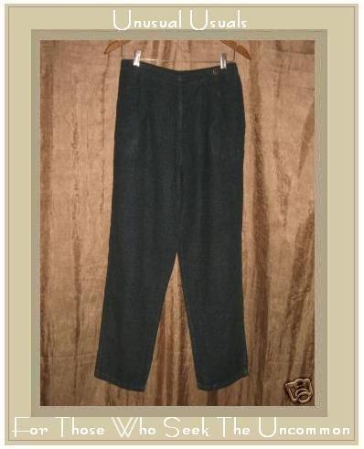 CLICK by Color Me Cotton Blue Check LINEN Pants Medium M
