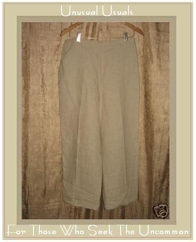 EDIE 7. Oatmeal LINEN & RAYON Long Pants Large L