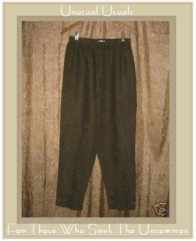 HOT COTTON by Marc Ware Olive Green LINEN Pants Large L