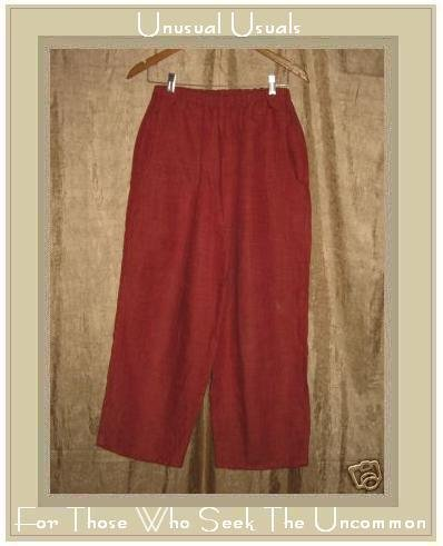 FLAX by Jeanne Engelhart Tomato LINEN FLOODS Pants Small S