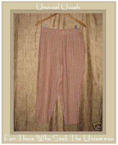 FLAX Striped LINEN Pants Jeanne Engelhart Small S