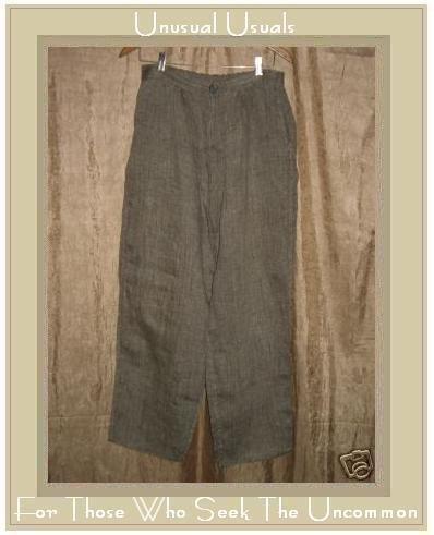 FLAX by  Jeanne Engelhart Bark Cloth LINEN Zipped Pants Medium M